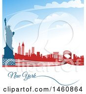 Clipart Of An American Flag And Statue Of Liberty New York Background Royalty Free Vector Illustration