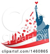 Clipart Of An American Flag And Statue Of Liberty And Icons Background Royalty Free Vector Illustration