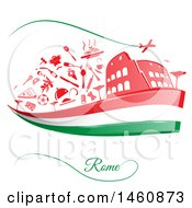 Clipart Of An Italian Flag And Rome Icons Royalty Free Vector Illustration