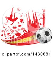 Clipart Of A Spanish Flag Soccer Ball And Icon Background Royalty Free Vector Illustration