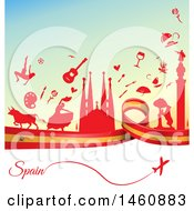 Clipart Of A Spanish Flag And Travel Background Royalty Free Vector Illustration