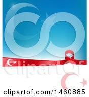Clipart Of A Turkish Flag Background Royalty Free Vector Illustration