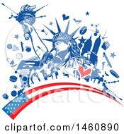 Clipart Of A Statue Of Liberty And American Flag Design Royalty Free Vector Illustration by Domenico Condello