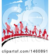 Group Of Silhouetted Immigrants Walking On A Syrian Flag Over A Europe Map