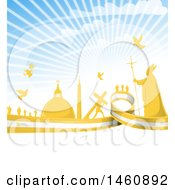 Clipart Of A Pope And Vatican City Background With A Flag And Rays Royalty Free Vector Illustration