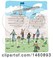 Clipart Of A Sketch Of People At A Border Wall Being Built By A Crane With An European Flag Royalty Free Vector Illustration