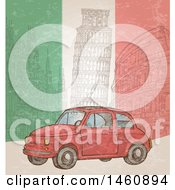 Clipart Of A Sketched Italian Flag And Car Background Royalty Free Vector Illustration