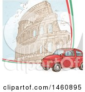 Clipart Of A Sketched Coliseum And Car Royalty Free Vector Illustration