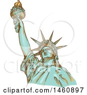 Clipart Of A Sketched Statue Of Liberty Royalty Free Vector Illustration by Domenico Condello