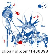 Clipart Of A Statue Of Liberty And Splatter Design Royalty Free Vector Illustration