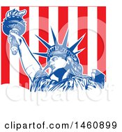 Clipart Of A Statue Of Liberty And Stripes Design Royalty Free Vector Illustration by Domenico Condello