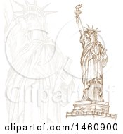 Clipart Of A Sketched Statue Of Liberty Design Royalty Free Vector Illustration by Domenico Condello