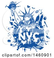 Clipart Of A Blue NYC Statue Of Liberty Design Royalty Free Vector Illustration