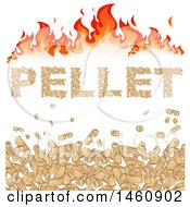 Clipart Of Heating Pellets Forming The Word Pellet Under Flames Royalty Free Vector Illustration