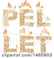 Clipart Of Heating Pellets Forming The Word Pellet With Flames Royalty Free Vector Illustration