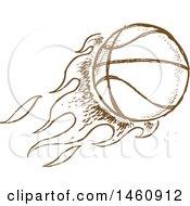 Poster, Art Print Of Sketched Brown Flaming Basketball