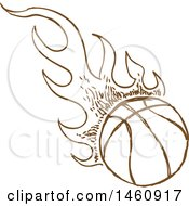 Clipart Of A Sketched Brown Flaming Basketball Royalty Free Vector Illustration by Domenico Condello