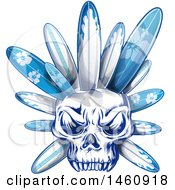 Poster, Art Print Of Human Skull With Blue Surfboards