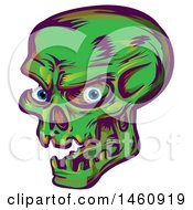 Clipart Of A Green Skull Royalty Free Vector Illustration