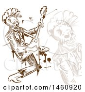 Clipart Of A Sketched Rock And Roll Skull Musician Royalty Free Vector Illustration