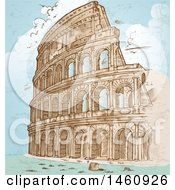 Clipart Of A Sketched Coliseum Royalty Free Vector Illustration by Domenico Condello