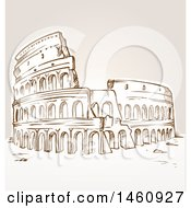 Clipart Of A Sketched Coliseum Royalty Free Vector Illustration