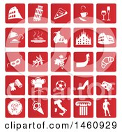 Clipart Of Red And White Italian Icons Royalty Free Vector Illustration by Domenico Condello