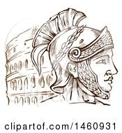 Clipart Of A Sketched Roman Warrior And Coliseum Royalty Free Vector Illustration
