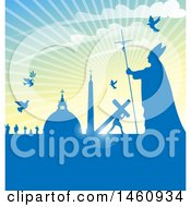 Clipart Of A Pope And Vatican City Background Royalty Free Vector Illustration by Domenico Condello