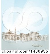 Clipart Of A Sketch Of Vatican City Royalty Free Vector Illustration by Domenico Condello