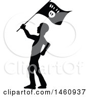 Clipart Of A Silhouetted Terrorist Royalty Free Vector Illustration by Domenico Condello