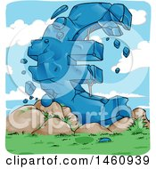 Clipart Of A Crumbling Giant Euro Currency Symbol European Crisis Royalty Free Vector Illustration