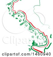 Poster, Art Print Of Map Of Italy With Icons