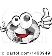 Clipart Of A Soccer Ball Mascot Giving Thumbs Up Royalty Free Vector Illustration by Domenico Condello