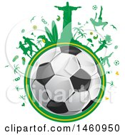 Clipart Of A Soccer Ball And Brazilian Icon Globe Royalty Free Vector Illustration by Domenico Condello