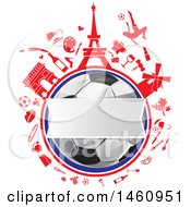 Clipart Of A Blank Banner Over A Soccer Ball And French Icons Royalty Free Vector Illustration