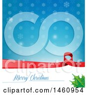 Clipart Of A Merry Christmas Greeting And Snowflake Background Royalty Free Vector Illustration