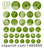 Clipart Of Round Green Eco Icons Royalty Free Vector Illustration