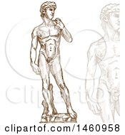 Clipart Of A Sketched Statue Of David Royalty Free Vector Illustration