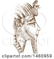 Clipart Of A Sketched Tutankhamun Mask Royalty Free Vector Illustration