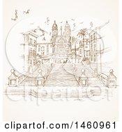 Clipart Of A Sketch Of Piazza Di Spagna Royalty Free Vector Illustration by Domenico Condello