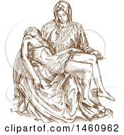 Clipart Of A Sketched Pieta Statue By Michaelango Royalty Free Vector Illustration by Domenico Condello #COLLC1460962-0191