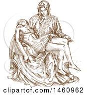 Clipart Of A Sketched Pieta Statue By Michaelango Royalty Free Vector Illustration by Domenico Condello #COLLC1460962-0191