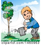 Clipart Of A Business Man Watering A Dollar Currency Tree Royalty Free Vector Illustration