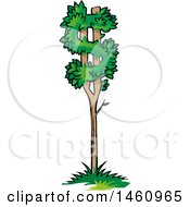 Clipart Of A Dollar Currency Tree Royalty Free Vector Illustration