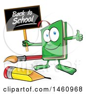 Clipart Of A Cartoon Green Book Mascot Holding A Back To School Sign And Giving A Thumb Up Royalty Free Vector Illustration