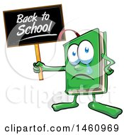 Clipart Of A Cartoon Green Book Mascot Holding A Back To School Sign And Crying Royalty Free Vector Illustration