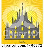 Clipart Of A Milan Cathedral Over Sunshine Royalty Free Vector Illustration