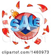 Clipart Of A Shattered Christmas Bauble And Sale Text Royalty Free Vector Illustration