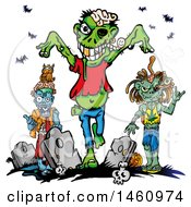 Clipart Of A Cemetery And Zombies Royalty Free Vector Illustration